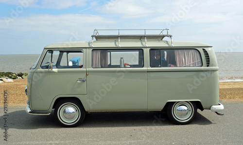 Classic Grey VW  Camper Van Parked on Seafront Promenade Wallpaper Mural