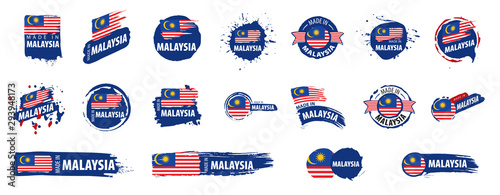 Cuadros en Lienzo Malaysia flag, vector illustration on a white background.