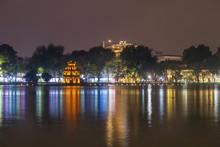 Hoan Kiem Lake And Turtle Tower In Hanoi, Vietnam
