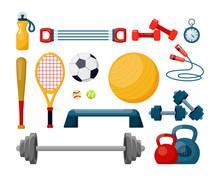 Sport Equipment Flat Vector Illustrations Set. Fitness