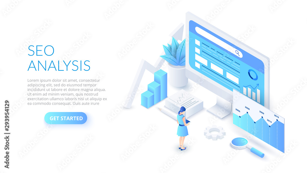 Fototapeta Seo analysis design concept. Isometric vector illustration. Landing page template for web.