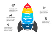 Puzzle Vector Rocket Infographics. Startup Businecc Concept For Chart, Diagram, Web Design, Or Presentation With 5 Options.