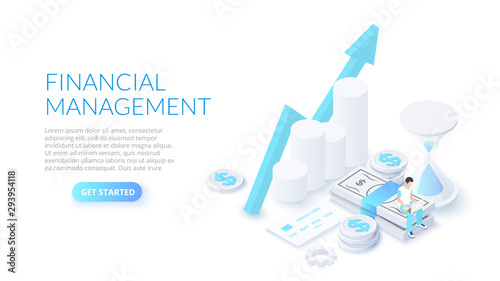 Fototapeta Financial management design concept with sitting man, money and hourglass. Isometric vector illustration. Landing page template for web. obraz