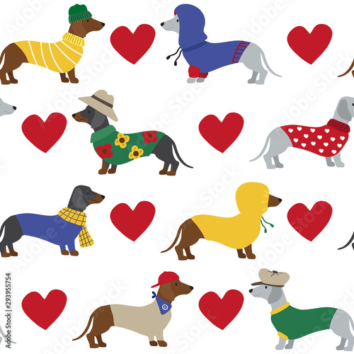 obraz lub plakat Cute dachshund dog with red heart seamless pattern