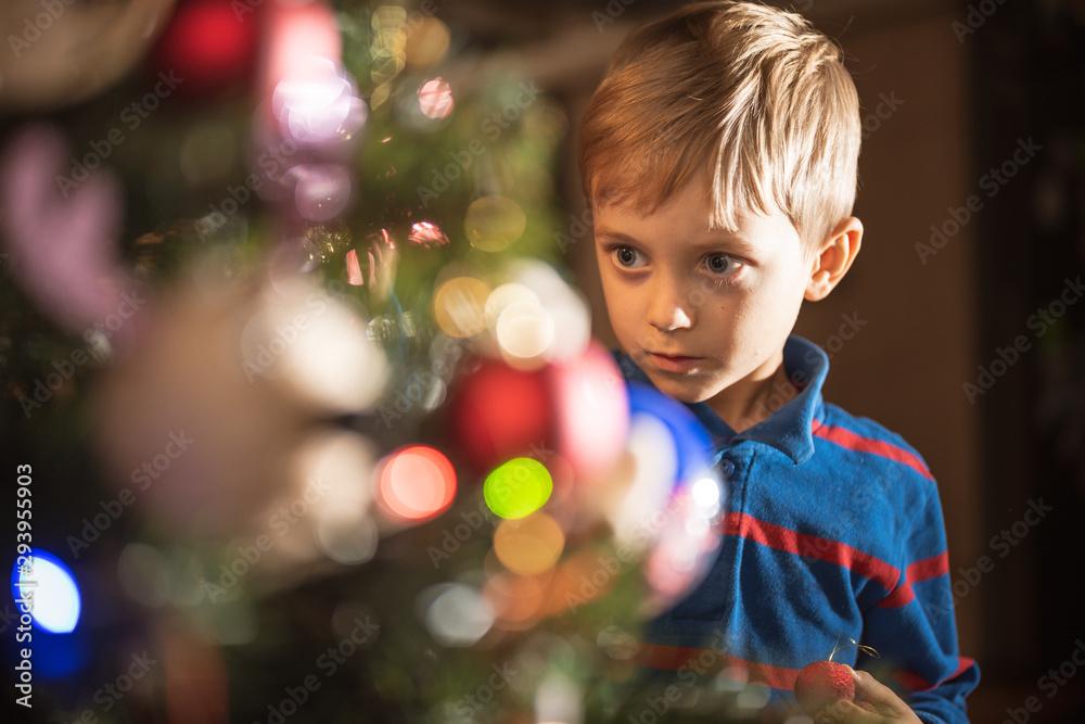 Fototapety, obrazy: Portrait of 6 years old boy decorating Christmas tree