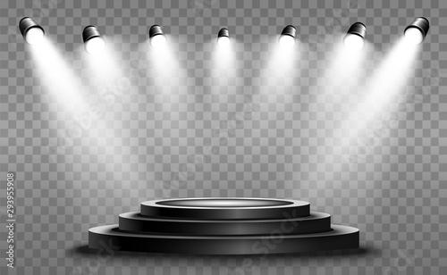 Obraz na plátne Round podium, pedestal or platform, illuminated by spotlights in the background