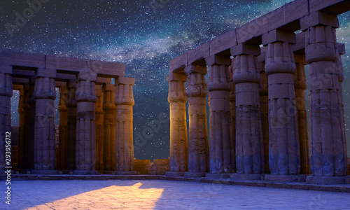 Karnak Temple, Colossal sculptures of ancient Egypt in the Nile Valley in Luxor, Canvas Print