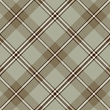 Tartan Pattern In Brown And Gr...