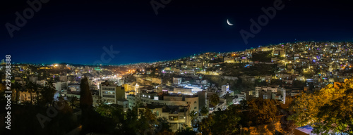 Panorama of Amman by Night Canvas Print