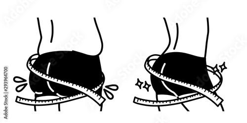Fototapeta ダイエット-垂れたお尻と引き締まったお尻-メジャー-黒