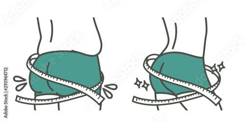 ダイエット-垂れたお尻と引き締まったお尻-メジャー-2色 Fototapet