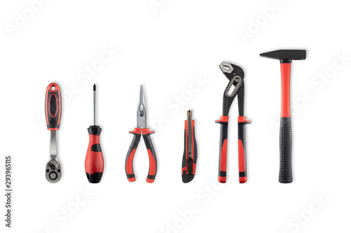 Fotomural Work tools isolated on white with clipping path
