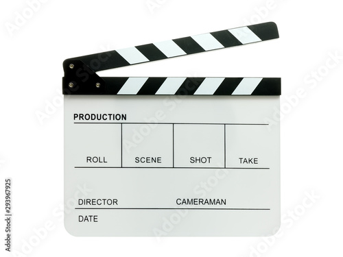 Vászonkép open movie clapper board isolated on white
