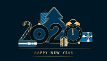 Happy New Year Card Gold And B...