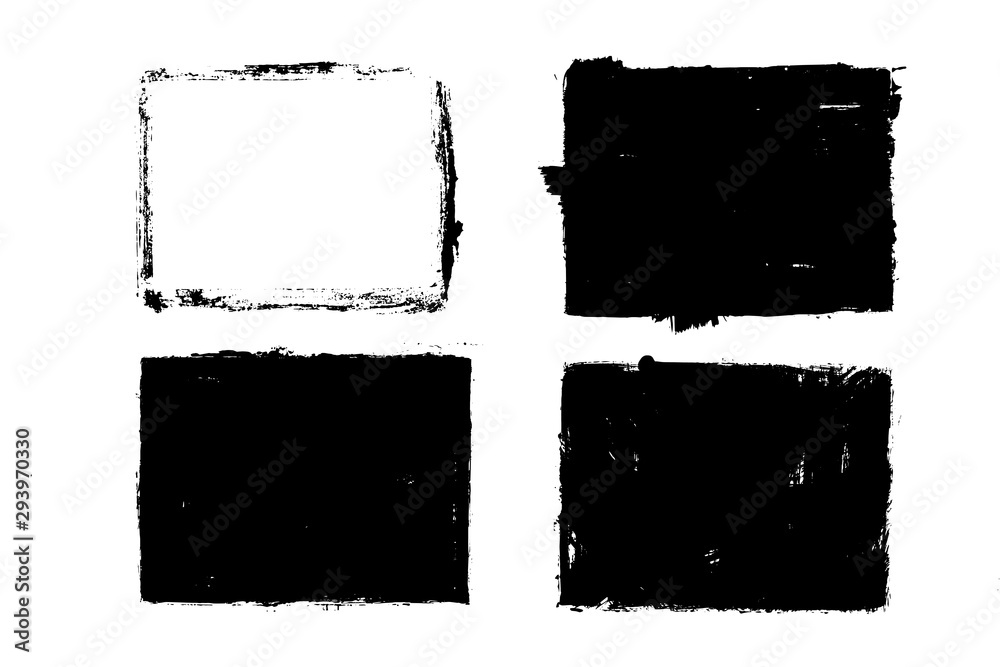 Grunge square shapes, frames, place for text. Black design elements, artistic, art objects. Dirty background. Abstarct texture.