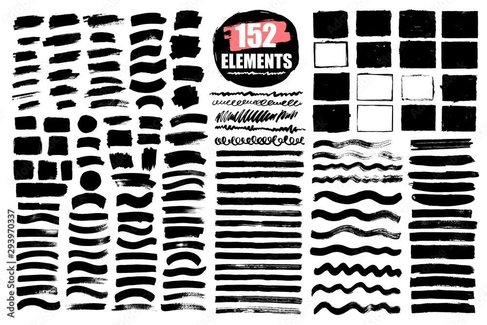 Fototapeta Grunge brush strokes, lines. Black design elements, artistic shapes, art objects. Dirty background. Abstarct texture.