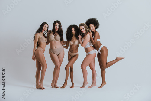 Fototapeta Group of women with different body and ethnicity posing together to show the woman power and strength. Curvy and skinny kind of female body concept obraz na płótnie