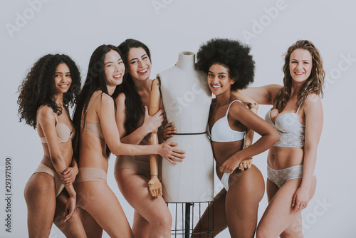 Obraz Group of women with different body and ethnicity posing together to show the woman power and strength. Curvy and skinny kind of female body concept - fototapety do salonu