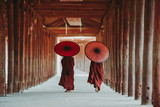 Tear view of two Buddhist monks walking with parasols, Bagan, Myanmar