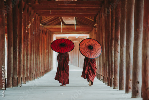 Photo Tear view of two Buddhist monks walking with parasols, Bagan, Myanmar