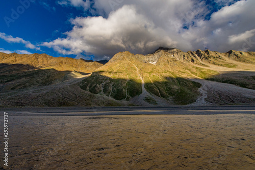 Wall Murals Northern Europe sunset and shadow of mountains at spiti valley