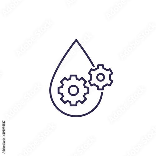 Fotografía  lubricant, oil line icon, drop and gears