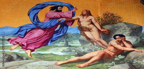 Photo Creation of Eve, painting on the facade, Saint Vincent de Paul church, Paris