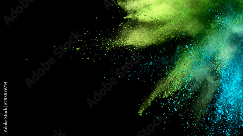 Explosion of colored powder on black background - 293979714