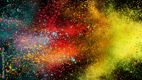 Explosion of colored powder on black background - 293979766