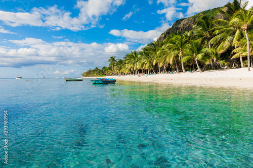 Beautiful view of luxury beach in Mauritius. Transparent ocean, beach, coconut palms and sky