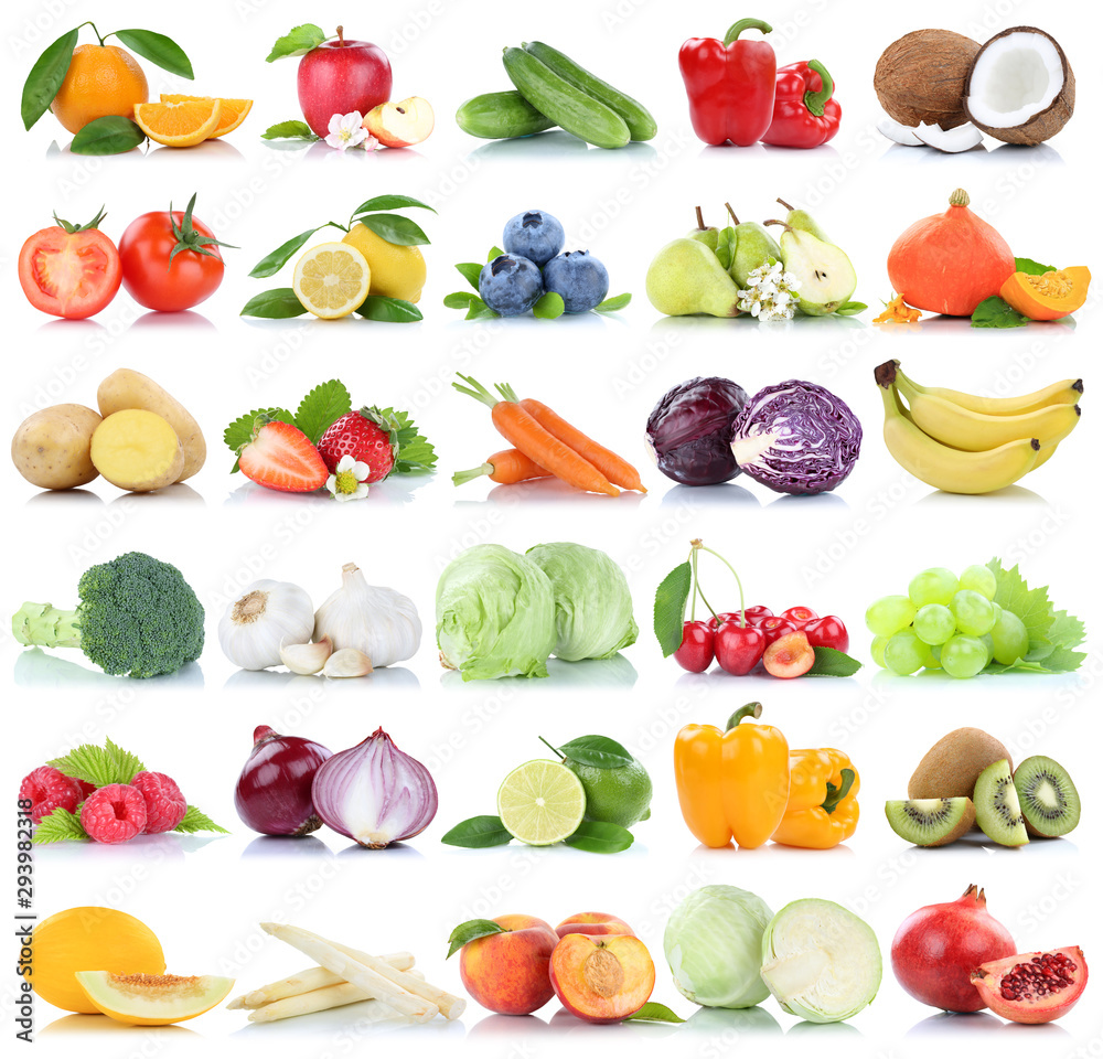 Fototapety, obrazy: Fruits and vegetables collection isolated apple oranges peach tomatoes lettuce berries fruit