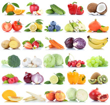 Fruits And Vegetables Collection Isolated Apple Oranges Peach Tomatoes Lettuce Berries Fruit