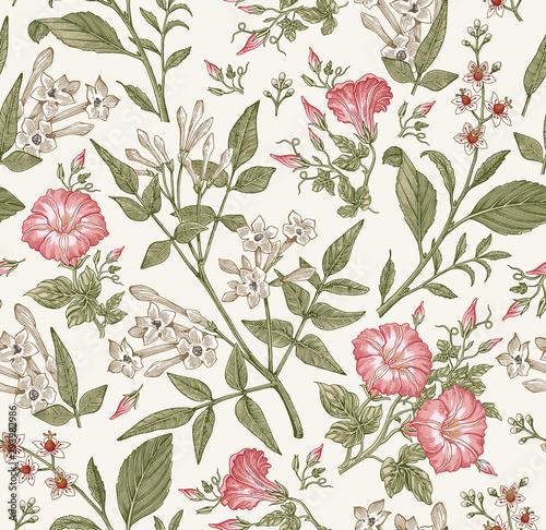 Fototapeta Seamless pattern. Beautiful fabric blooming realistic isolated flowers. Vintage background. Set Jasmine Petunia Croton wildflowers. Wallpaper baroque. Drawing engraving. Vector victorian illustration obraz