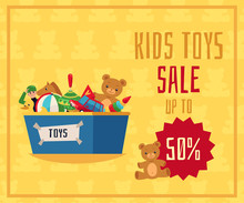 Kids Toys Sale Flyer Or Banner With Toys In Box, Flat Vector Illustration.