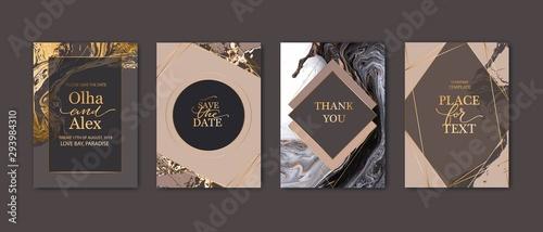 Fototapeta Modern card design. Marble texture. Gold, white, beige colors brochure, flyer, wedding invitation template. Business identity style. Geometric shape. Vector. obraz
