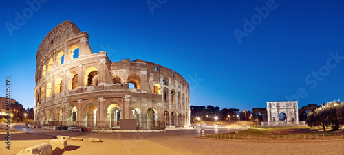 Colosseum (Coliseum) in Rome, Italy, at nigh, panoramic image Canvas Print