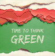 """canvas print picture Text """"Time to think green"""" on green, red and white burnt paper"""
