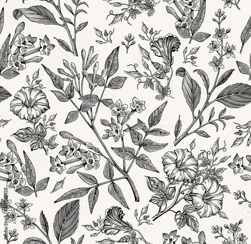 Poster Artificiel Seamless pattern. Beautiful fabric blooming realistic isolated flowers. Vintage background. Set Jasmine Petunia Croton wildflowers. Wallpaper baroque. Drawing engraving. Vector victorian illustration