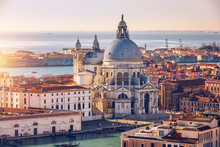 Aerial View Of The Grand Canal And Basilica Santa Maria Della Salute, Venice, Italy. Venice Is A Popular Tourist Destination Of Europe. Venice, Italy.