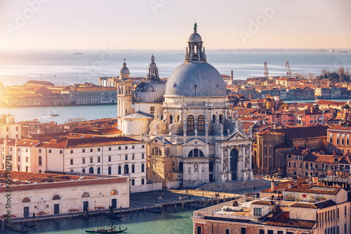 Canvas Print Aerial View of the Grand Canal and Basilica Santa Maria della Salute, Venice, Italy