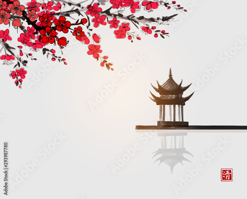 Fotografie, Obraz Sakura blossom and pagoda temlple over the water surface Traditional Japanese ink wash painting sumi-e