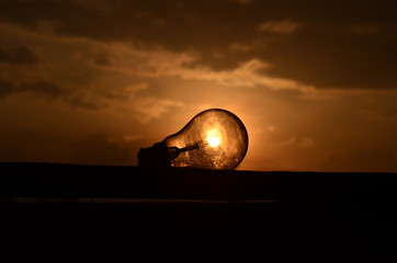 An electric bulb powered by the Sun. Depicting the need of alternative sources of energy   Solar energy