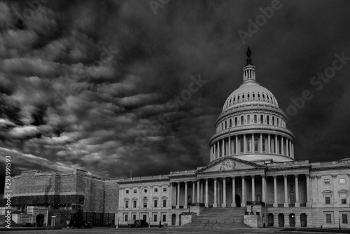 Fotografia, Obraz  View of Capitol Building during renovation in black and white, Washington DC