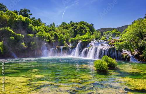 Poster Forest river Beautiful Skradinski Buk Waterfall In Krka National Park, Dalmatia, Croatia, Europe. The magical waterfalls of Krka National Park, Split. An incredible place to visit near Split, Croatia.