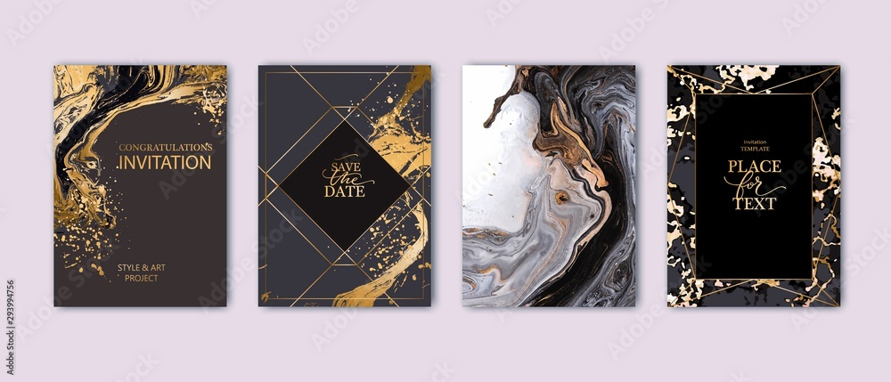 Fototapeta Modern card design. Hand drawn splatters. Marble texture. Gold, white, black colors brochure, flyer, invitation template. Business identity style. Geometric shape. Vector.