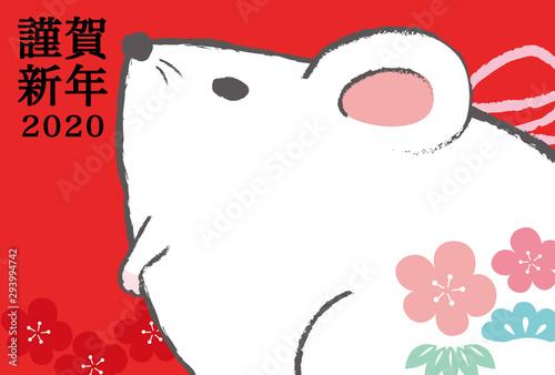 Photo ネズミ,ねずみ,鼠,子,謹賀新年,年賀状素材,はがきテンプレート,かわいい,可愛い,ポップ,ポップな,おしゃれな,年賀状,年賀,テンプレート,素材,書き込み,書