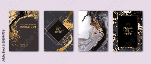 Fototapeta Modern card design. Hand drawn splatters. Marble texture. Gold, white, black colors brochure, flyer, invitation template. Business identity style. Geometric shape. Vector. obraz