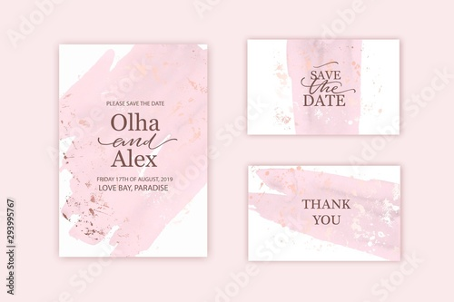 Rose gold and blush watercolor texture card Fototapet