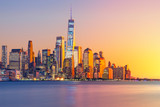 a magnificent view of Lower Manhattan and the financial district at sunset, New York City