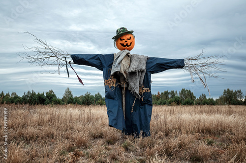 Fotografia A scary scarecrow with a halloween pumpkin head in a field in cloudy weather